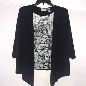 Alfred Dunner Cardigan B/I Tank & Necklace
